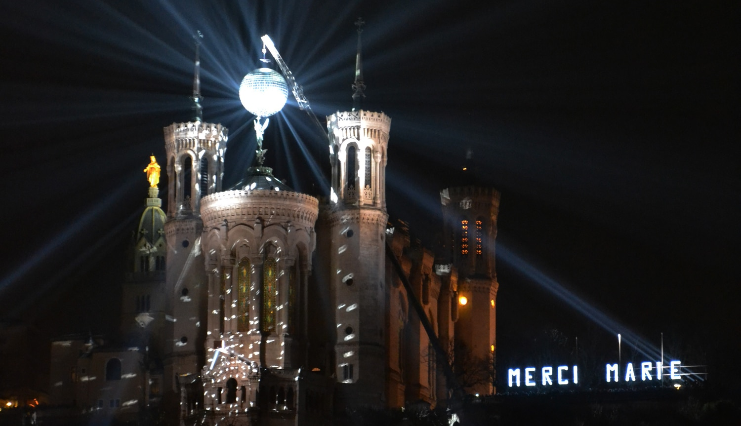 disco ball over Fourvière cathedral - Lyon Festival of Lights