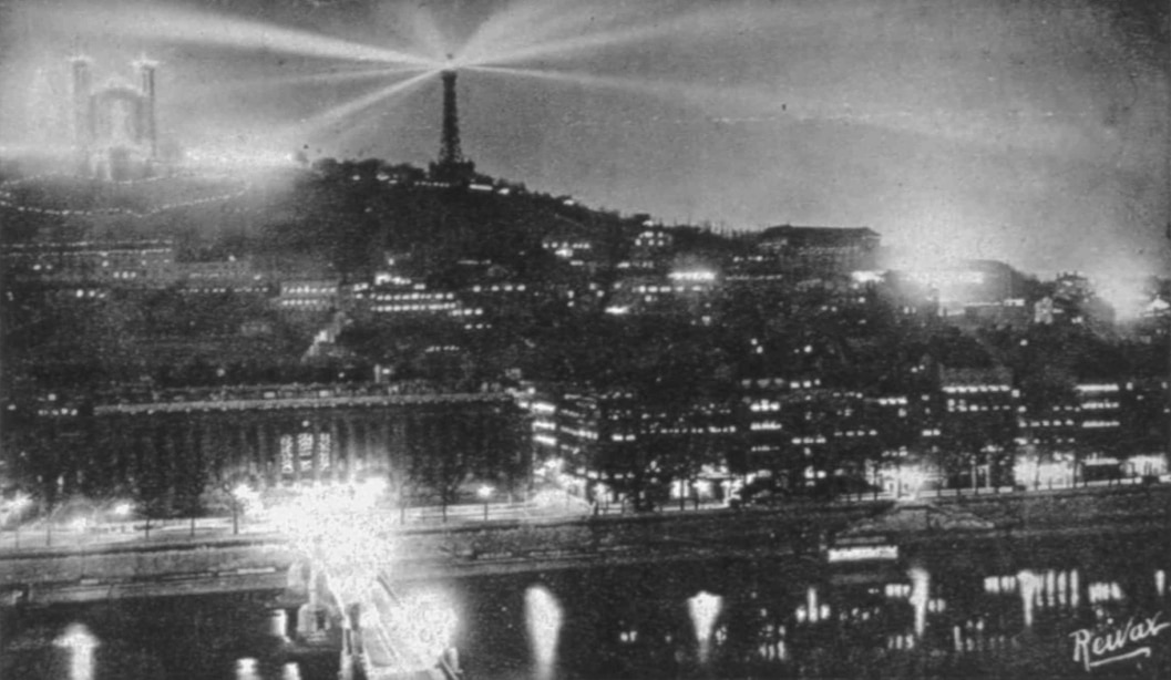 Lights over Fourvière Hill and Saône river
