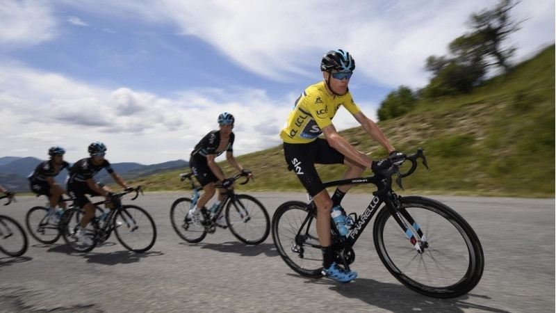 Yellow jersey Chris Froome on the Tour de France