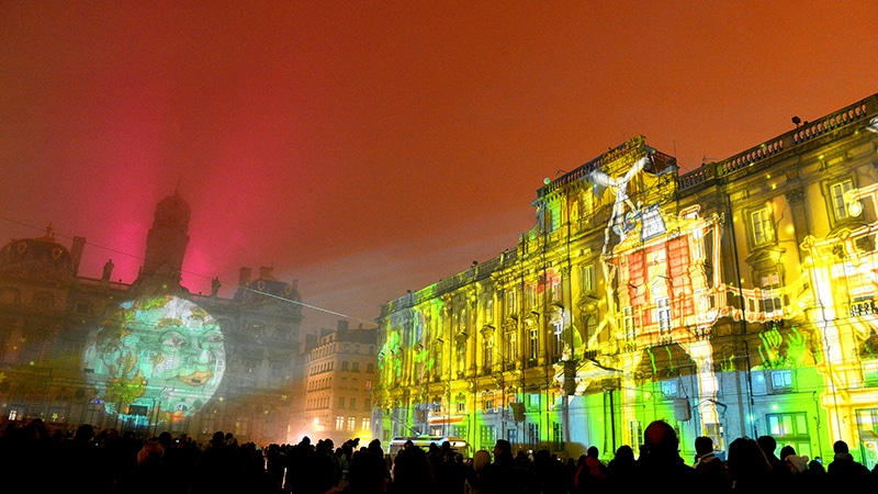 Place des Terreaux during Lyon Festival of Lights 2016