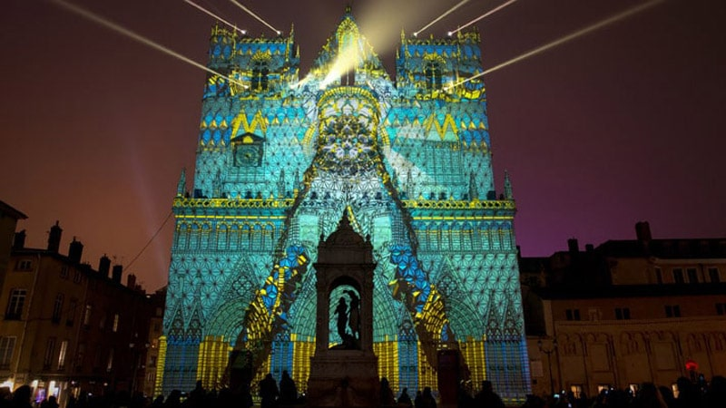 Cathedrale St-Jean during Lyon Festival of Lights