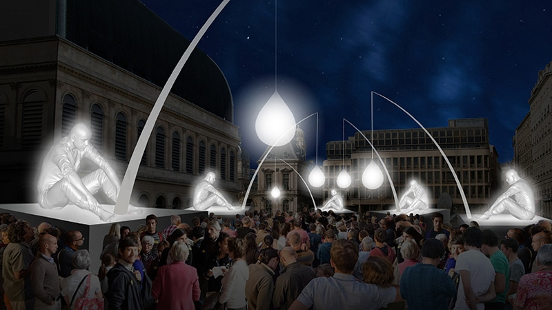 Place Louis-Pradel during Lyon Festival of Lights 2017