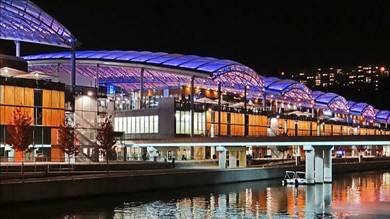 Lyon Confluence shopping center by night