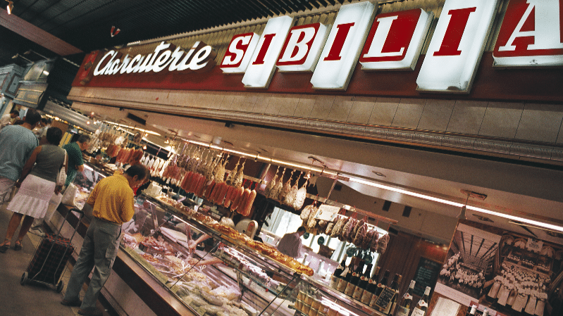 Halles de Lyon Paul Bocuse in Lyon third district and Sibilia shop