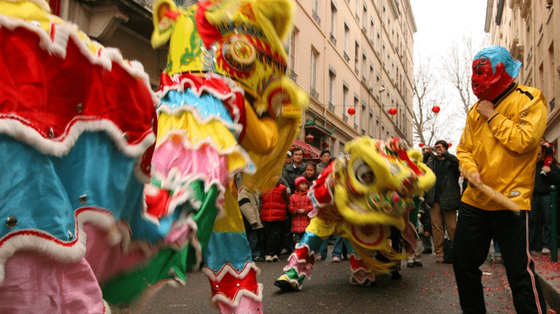 Dragons during Chinese New Year Parade in Lyon
