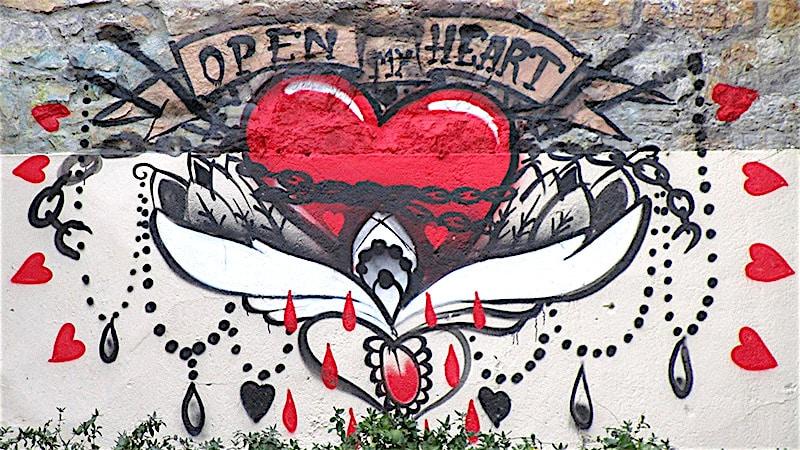 """Georges de Loup's """"Open my Heart"""" painting at Montée de la Grande-Côte."""