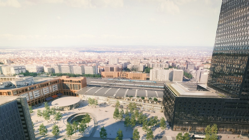 View of Lyon Part-Dieu train station in 2022.