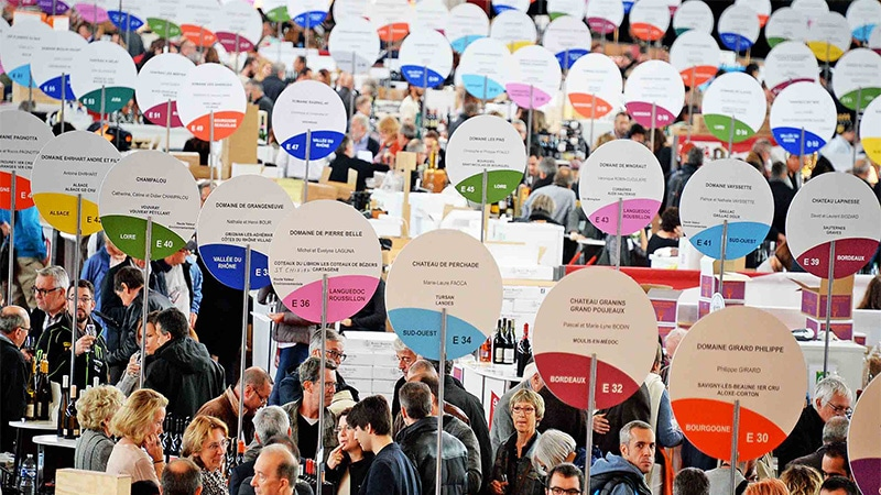 Signs announcing the wines of 138 independent wine-growers at the Lyon Wine Fair.