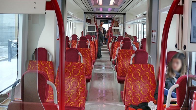 The inside of the Rhônexpress Airport Shuttle in Lyon.