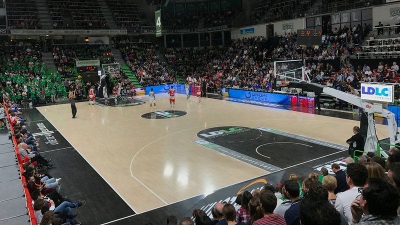 view from the stands in the astroballe for an asvel game