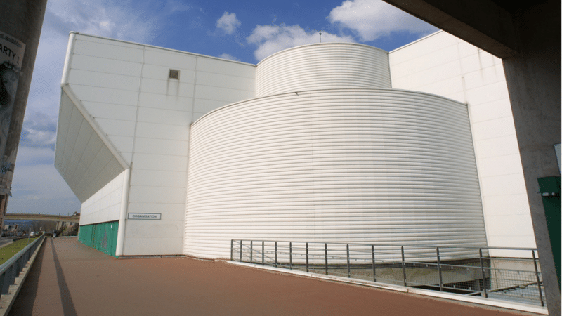 outside entry of the astroballe in villeurbanne