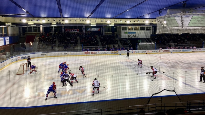 lyon hockey club playing against rouen in charlemagne ice rink in lyon