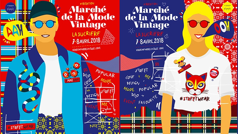 Posters for the Vintage Fashion Market in Lyon.