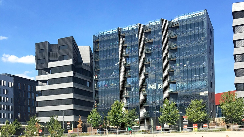 Modern architecture in the Confluence district of Lyon 2.