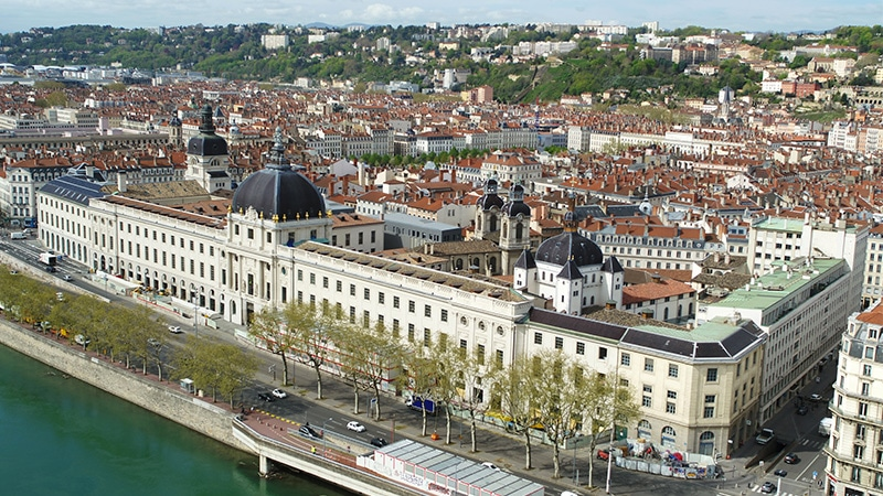 lyon's hotel dieu on the banks of the rhone