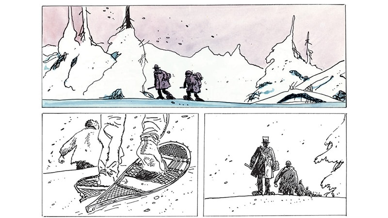 "A comic strip from the Canadian ""Grand Nord,"" drawn by Hugo Pratt and on view at the Musée des Confluences in Lyon."