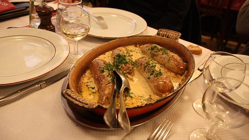 Andouillette dish in Lyon restaurant