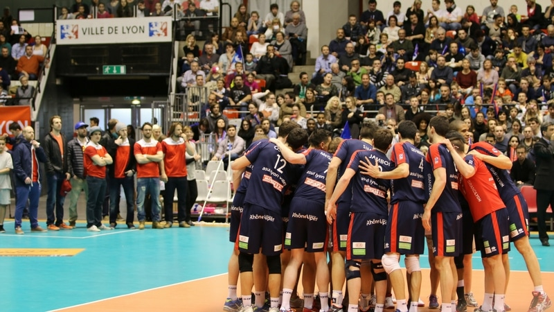 the asul lyon volley players in palais des sports