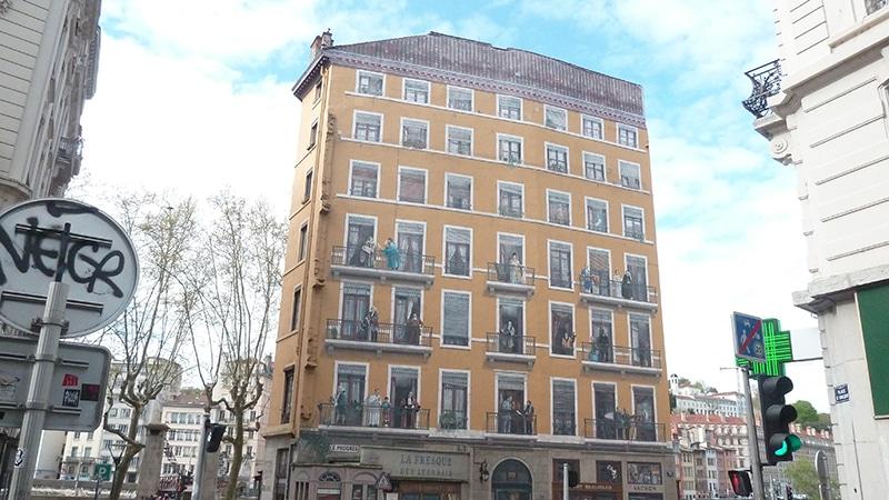The Fresque des Lyonnais in Lyon 1.