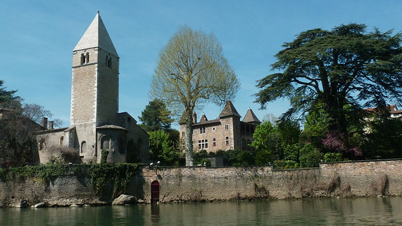 ile barbe chapel along the saone river in lyon