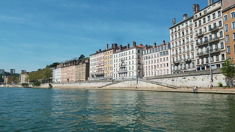 view of the saone riversides in lyon