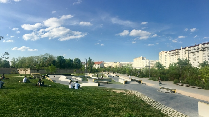 view of the skatepark at the parc sergent blandan in lyon