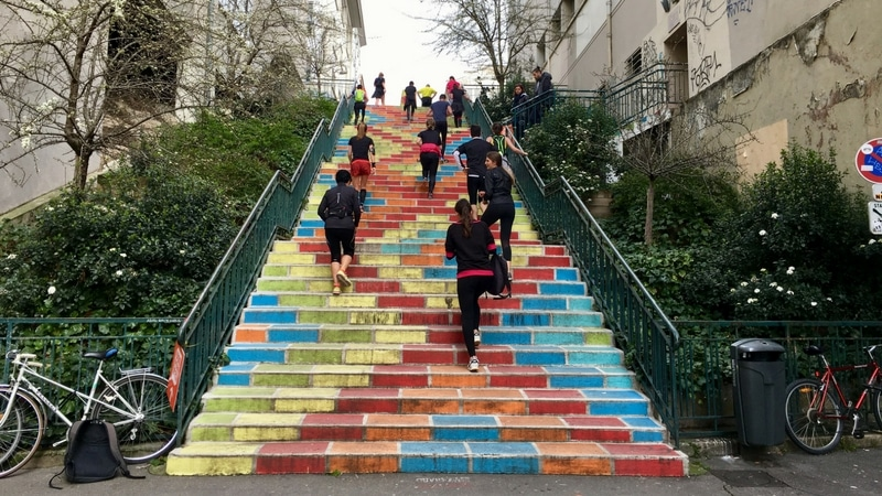 colorful stairway in the lyon urban trail
