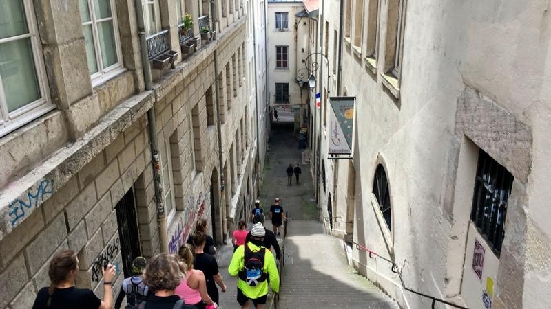stairway in the pentes de la croix-rousse for the lyon urban trail