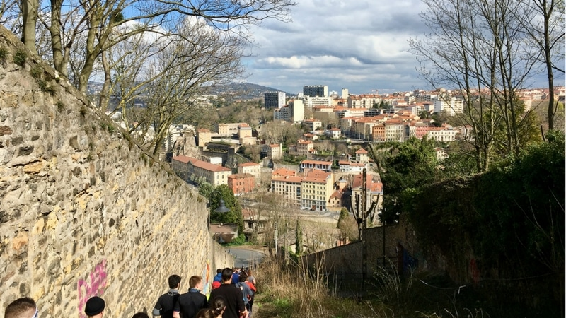 lyon urban trail down the stairs on fourvière hill in lyon