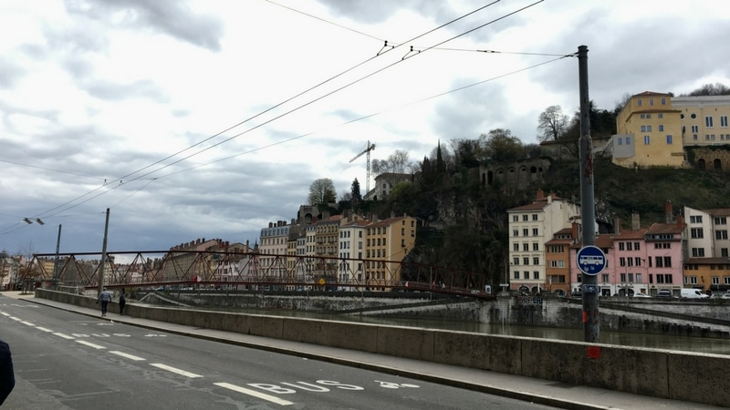view on the passerelle saint vincent in lyon for the lyon urban trail