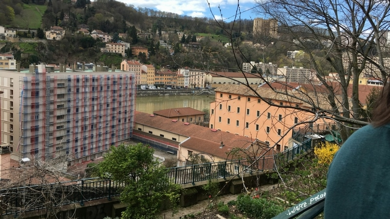 community garden overlook the saone river in lyon