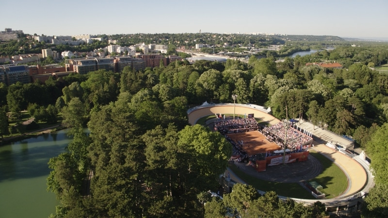 view of the central court of the open parc in lyon