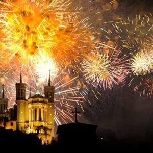 Bastille Day in France: Fireworks in Lyon