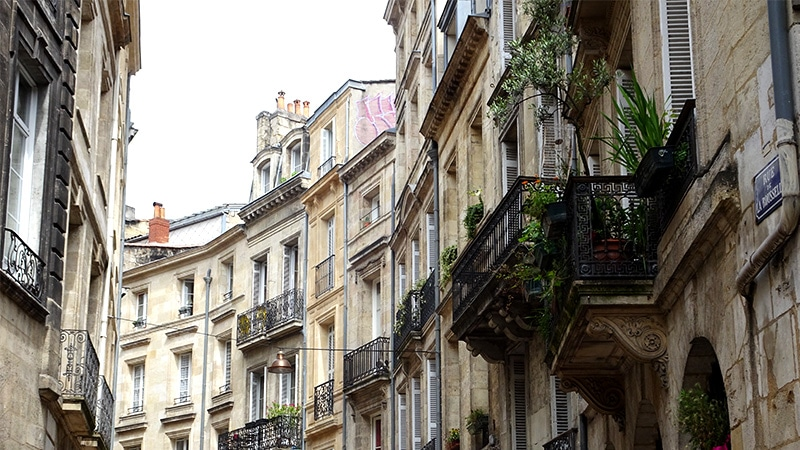 curved buildings and balconies in Bordeaux