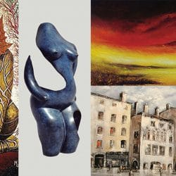 the galerie de la tour has an expo of 3 painters and 1 sculptor