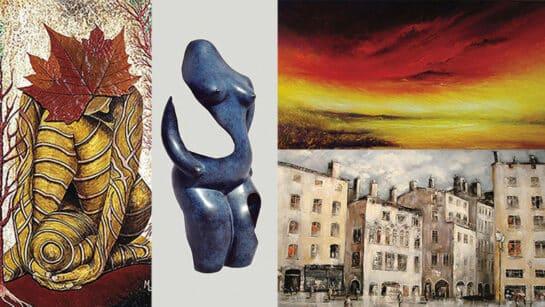 the galerie de la tour has an expo of 3 painters and 1 sculptor