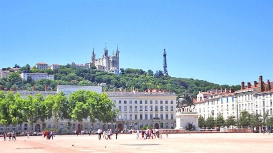 the metallic tower of fourviere from place bellecour