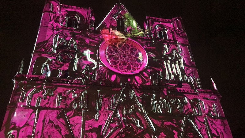Lyon festival of Lights 2018 Saint Jean Cathedral