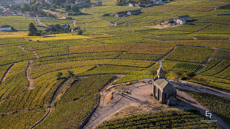 view from La Madone in Fleurie Beaujolais
