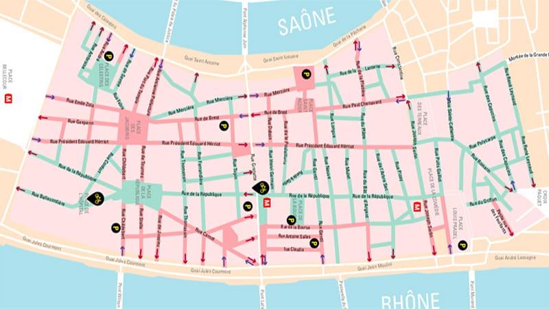 Lyon city center map