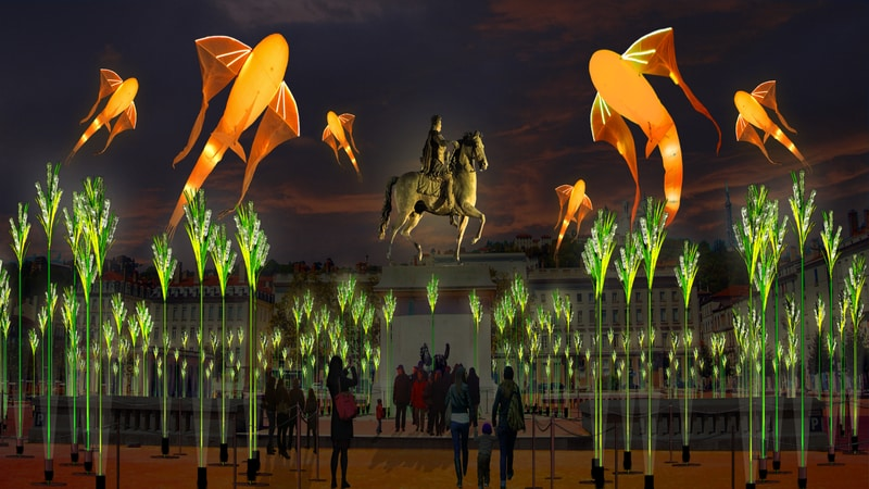 Displays in Place Bellecour Fete du lumiere