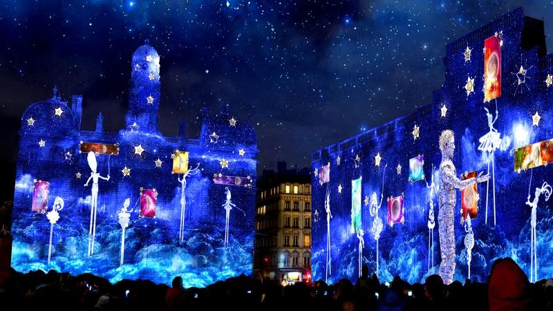 Place des Terreaux during Lyon's Festival of Lights 2019