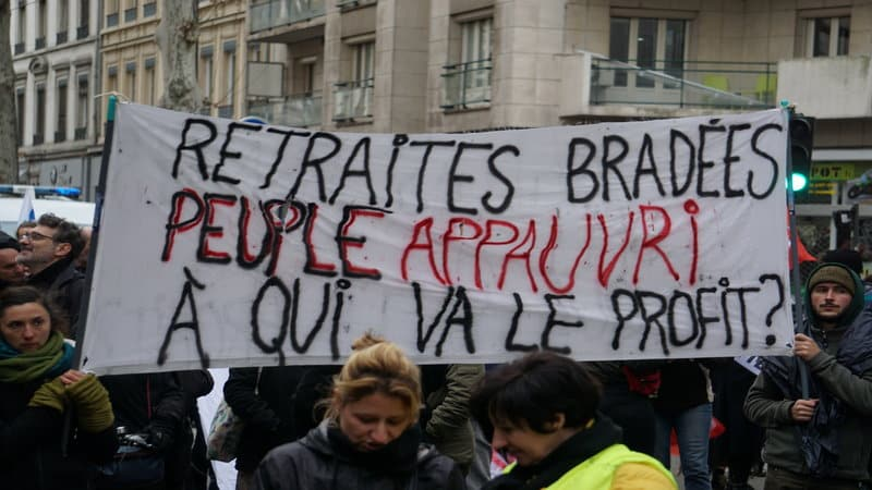 Poster during the protests in Lyon